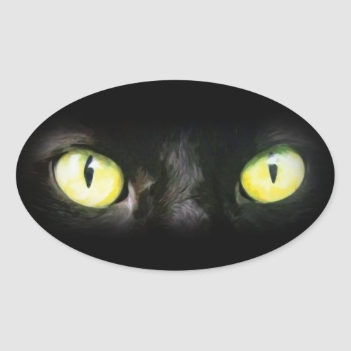 Black Cat, Yellow Green Eyes, Sleek and Spooky Sticker