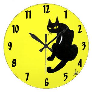 BLACK CAT yellow Large Clock