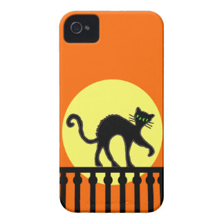 Black Cat Yellow Moon Fence iPhone 4 Cases