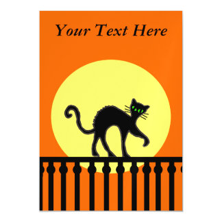 Black Cat Yellow Moon Fence Magnetic Invitations