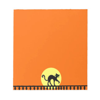 Black Cat Yellow Moon Fence Notepad