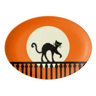 Black Cat Yellow Moon Fence Porcelain Serving Platter
