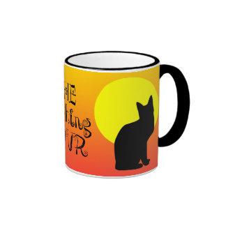 Black Cat Yellow Moon Halloween Ringer Coffee Mug