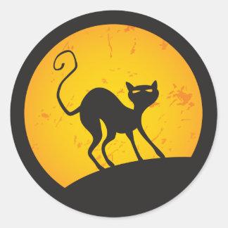 Black Cat - Yellow Moon Round Sticker