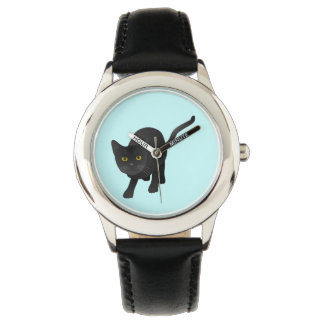 Black Cat - Your Choice Background Color Watch