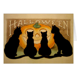 Black Cats and a Jack O'Lantern Card