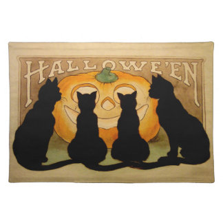 Black Cats and a Jack O'Lantern Placemats