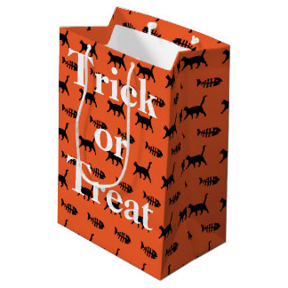 Black Cats and Fish Bones Trick or Treat Halloween Medium Gift Bag