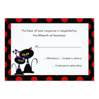 Black Cats and Polka Dots Wedding Response Card 9 Cm X 13 Cm Invitation Card