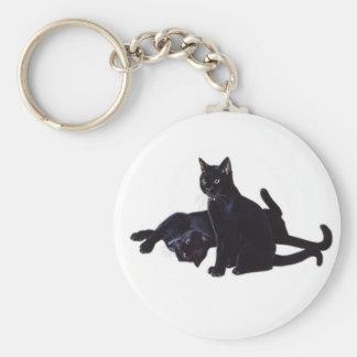 black cats basic round button key ring