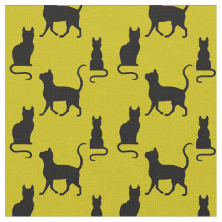 Black Cats/Cat/kitten silhouette on dark gold Fabric