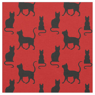Black Cats/Cat/kitten silhouette on deep red Fabric