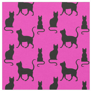 Black Cats/Cat/kitten silhouette on pink Fabric