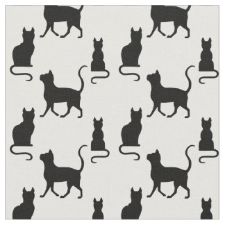 Black Cats/Cat/kitten silhouette on zazzle png wht Fabric
