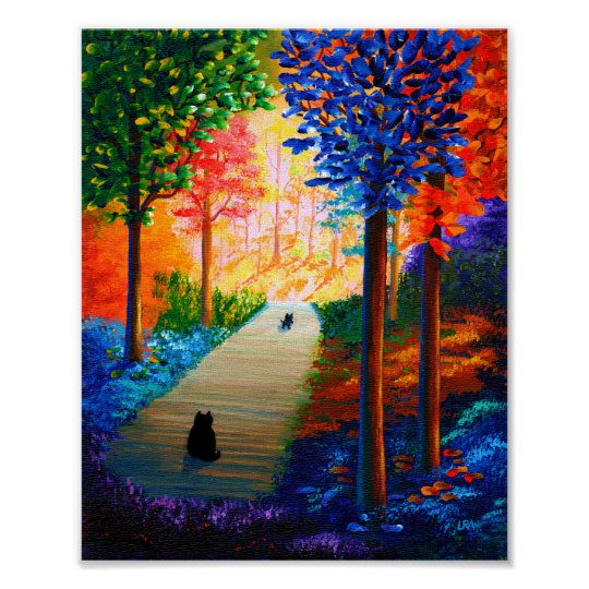 Black Cats Colourful Fall Landscape Creationarts Poster