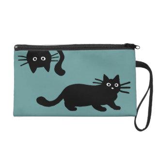 Black Cats - Customizable Background Color Wristlet