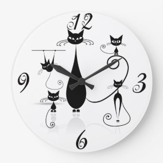 Black Cats Everywhere Wall Clock