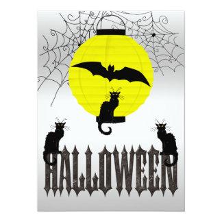 Black Cats, Flying Bat & Spider Webs 14 Cm X 19 Cm Invitation Card