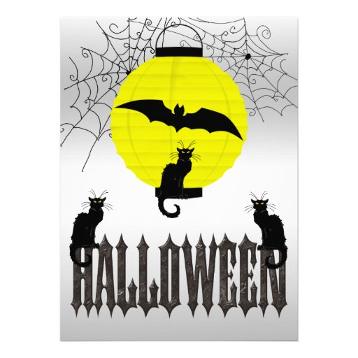 Black Cats, Flying Bat & Spider Webs Personalized Invites