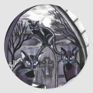 Black Cats Full Moon Graveyard Round Sticker