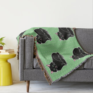 Black Cats Green & Tiny Pink Hearts Throw Blanket