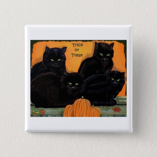 Black Cats Halloween button