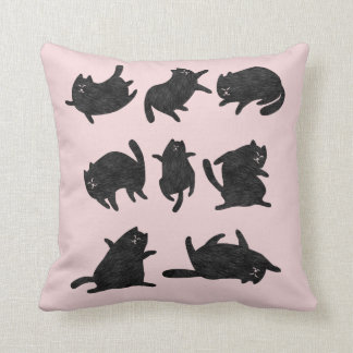 Black cats in pink throw pillow