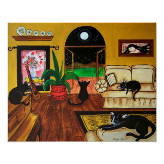 Black Cats Living Room Poster