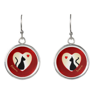 Black Cats Monogrammed Red Heart Drop Earrings
