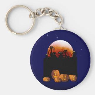 Black Cats, Moon, Pumpkins Keychain