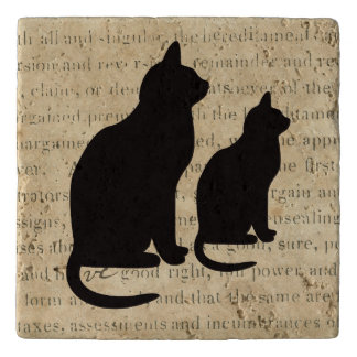 Black Cats on 1850's Ephemera Paper Document Trivet