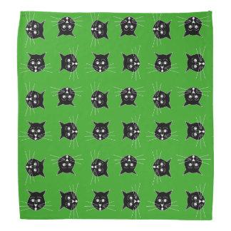 Black Cats on Green Background Bandana