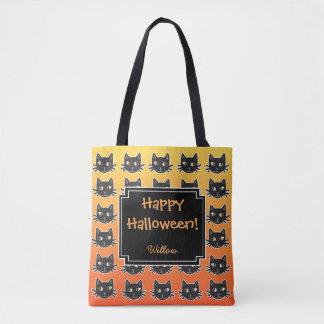Black Cats Orange Custom Halloween Tote Bag