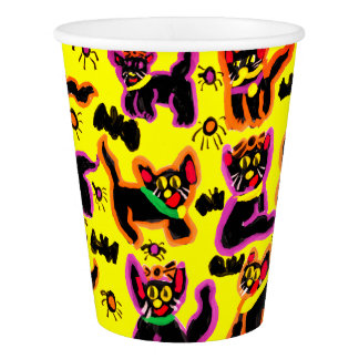 black cats party paper cup