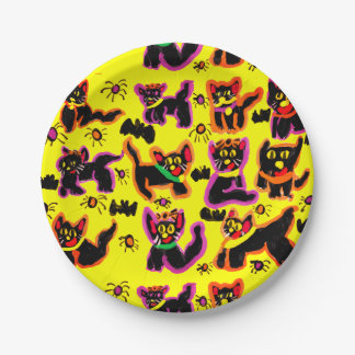 black cats party paper plate
