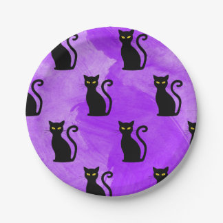Black Cats Pattern Witchy Halloween Party Paper Plate