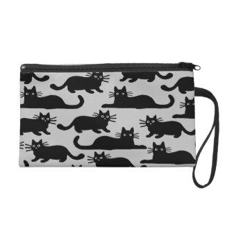 Black Cats Pattern Wristlet Clutch