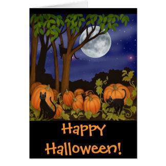 Black Cats & Pumpkins Halloween Card