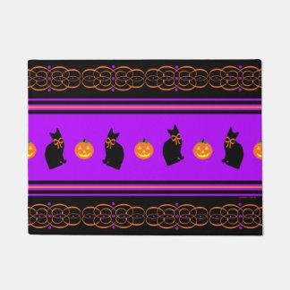 """""""Black Cats & Pumpkins"""" Halloween Door Mat"""