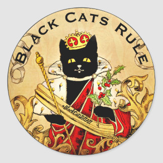Black Cats Rule The World Royally Classic Round Sticker
