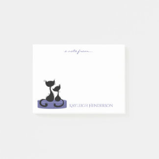 Black Cats Silhouette on Purple Green Box Monogram Post-it Notes