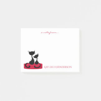 Black Cats Silhouette on Red Box Monogram Post-it Notes