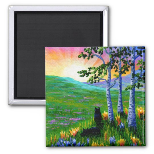 Black Cats Sunset Birch Trees Creationarts Square Magnet