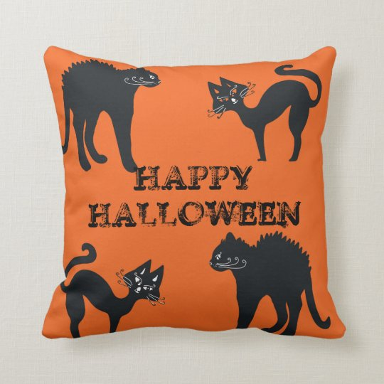 Black Cats Throw Cushion Happy Halloween