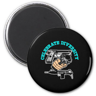 Black Celebrate Diversity Guns 6 Cm Round Magnet