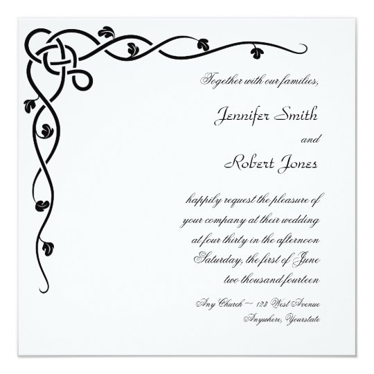 Black Celtic Knot Corner Vine Wedding Invitation