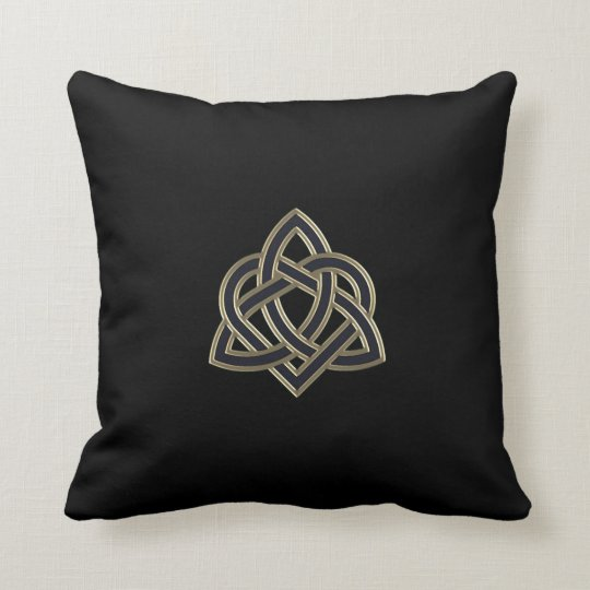 Black Celtic Trinity Heart Knot Throw Pillow