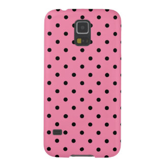 Black center Small Black Polka Dots on hot pink Galaxy S5 Cover