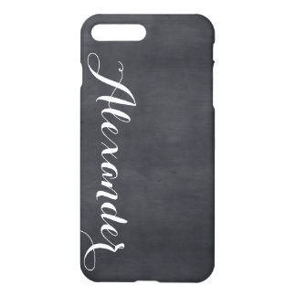 Black Chalkboard Background, Name Monogram iPhone 7 Plus Case