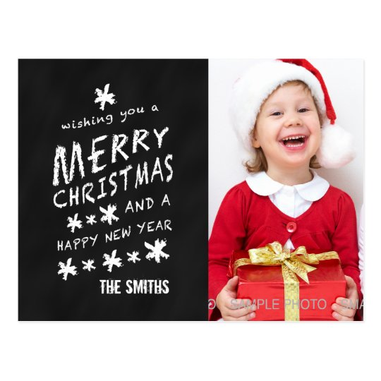 BLACK CHALKBOARD CHRISTMAS PHOTO POSTCARD